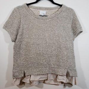 Greylin Knit Wool Sweater with Ruffle Trim, sz M